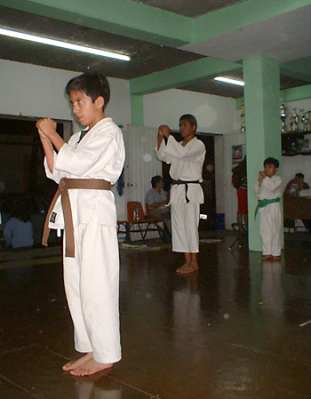 Training at a karate dojo in Mexico