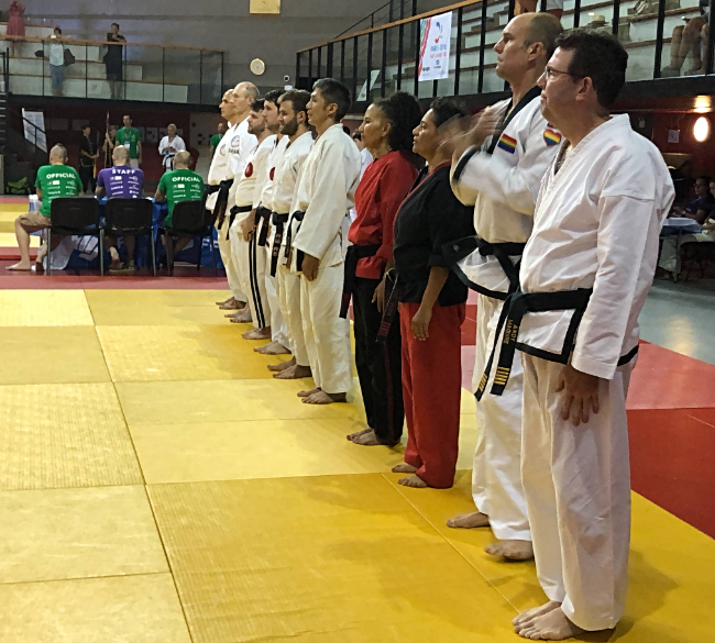 Sifu Sonya Richardson and Sifu Aarin Burch lined up before their form event